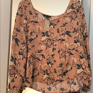 Cropped Floral American Eagle Top